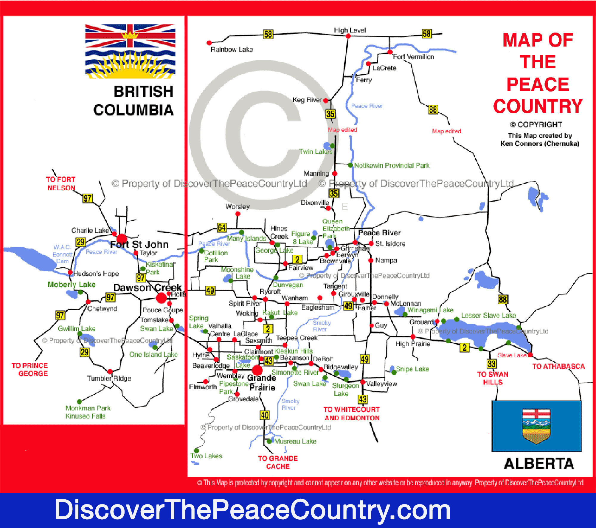 Map Of Bc And Alberta Canada.Map Of The Peace Country Northern Alberta British